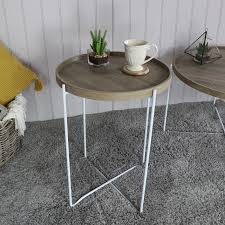 tall round natural wood coffee table scandi home modern living room furniture