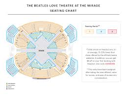 Golden 1 Stage Seating Chart The Beatles Love Seating Chart The Beatles Love At Mirage
