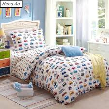 twin duvet cover cotton bed sheets oil painting kids boys car white bedding set single twin
