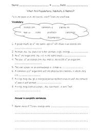 habitat and niche activity sheet answers science fusion 4th gr unit 4 lesson 1 what are populations