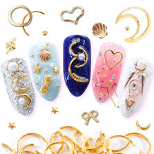 1 Pack Nail Art Metal Gold Decoration Strass Star Moon Heart <b>Mixed</b> ...