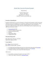 Retail Sales Associate Resume Objective Retail Sales Associate Resume  Example ...