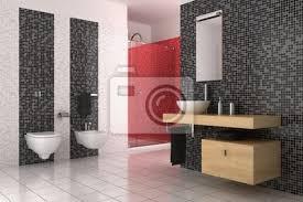 Carta Da Parati Nel Bagno : Carta da parati bagno moderno con piastrelle nere rosso e bianco