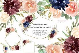 burdy watercolor wedding invitation clipart burdy navy gold watercolor flowers clipart gold glitter geometric