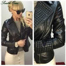 whole faux leather jacket women stud rivet moto biker zip coats chaqueta blazer pu jack jaqueta couro rock cuir femme casaco 2017 leather jacket women