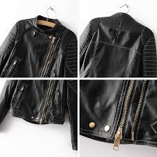 new cool women black golden zippers faux leather jacket autumn winter outwear coat short fashion motorcycle leather coat female