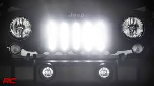 2007 2017 jeep wrangler jk vertical 8 inch led light bar grille mount kit by rough country you
