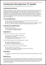 Manager Resume Sample Construction Site Supervisor Cv Sample Myperfectcv