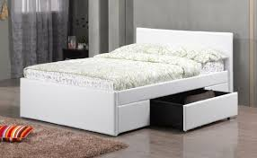 double white pu faux leather bed 2 drawers