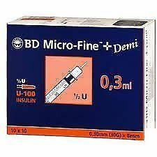 U100 To U40 Conversion Chart Bd Micro Fine Plus Insulin Syringes Demi U100 0 3ml 30g X 8mm