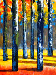 this is my new abstract landscape painting titled birch trees it s acrylic on canvas 18 x 24 framed the trunks were done with palette knife