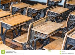 royalty free stock photo old student classroom desks