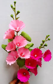 Made Flower With Paper A Tall Beautiful Flower Stem Made Of Crepe Paper Which Is