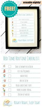 Bedtime Routine Chart Printable Bed Time Routine Checklist Free Printable