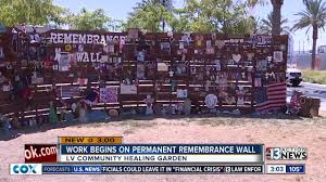 work begins on permanent remembrance wall at las vegas healing garden