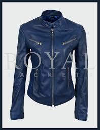 womens retro biker style fitted leather jacket