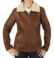 las zip up sheepskin jacket in antique rust brown sl12603