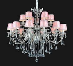 asian style shining pink shade silver davit crystal chandelier