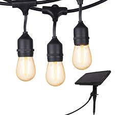 Amazon Patio Lights 28 Ft Vintage Solar String Lights Outdoor S14 Hanging Patio Lights With 12 Shatterproof Dimmable Led Bulbs Auto On Off For Outdoor Bistro Cafe