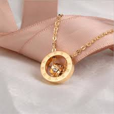 whole pendant necklaces of diamond double ring mixed with roman numerals pendants 18k rose gold jewelry for men women round pendant