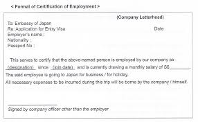 Sample Of Employment Letter For Japan Visa Application Resume Pdf