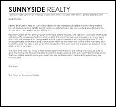 New Real Estate Agent Announcement Letter Example Letter Samples