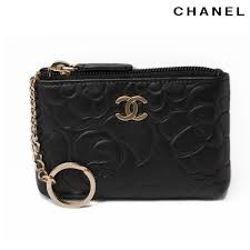 chanel key pouch. chanel key ring coin purse / card case a50090 camellia lambskin black gold metal chanel pouch e