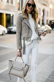 street style tan suede moto jacket james jeans white skinny jeans white sweater