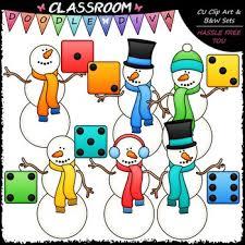 Colorful Dice Snowmen Clip Art Math Clip Art B W Set