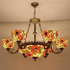 beautiful 9 light stained glass shade tiffany style bowl chandelier