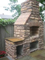 outdoor stone fireplace grill designs