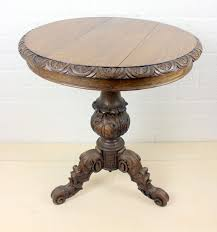 round side table on tripod solid oak hand put