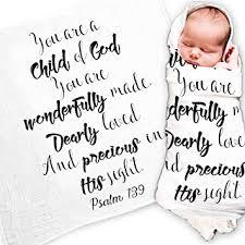 Ocean Drop Designs - White <b>Muslin Swaddle Blankets</b> - Psalm 139