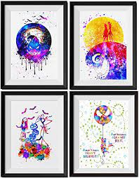 Nordic poster nursery decor pictures,tableau,scandinavian style. Amazon Com Uhomate 4 Pcs Set Jack Sally Nightmare Before Christmas Abstract Art Home Canvas Wall Art Inspirational Quotes Wall Decor For Living Room For Bedroom M032 8x10 Posters Prints