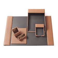 deluxe desk accessories set made of full grain leather