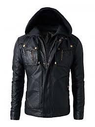 details about men s brando double zip slim fit genuine leather jacket with detachable hood