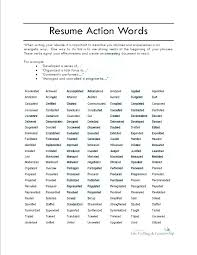 Resume Action Word List Action Verbs Resume Sample Template