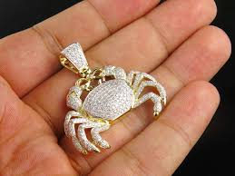 10k yellow gold crab cancer zodiac sign 1 5 inch genuine diamond pendant 2 5ct