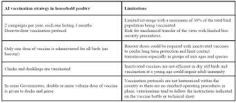 Chicks Vaccination Chart Avian Influenza Vaccination In Egypt Limitations Of The