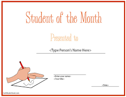 Student Of The Month Certificate Templates Education Certificates Top Student Of The Month