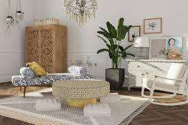 living room with bench and chair