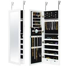 best choice s mirrored lockable jewelry cabinet armoire organizer w door hanging hooks wall