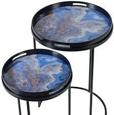 blue marble effect side table set of 2 white bedside side table set
