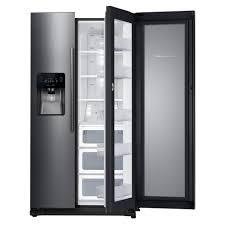 samsung black stainless fridge. Samsung 24.7 Cu. Ft. Side By Refrigerator In Fingerprint Resistant Black Stainless Fridge