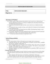 Restaurant Manager Resume Job Description Resume F Rs Geer Books