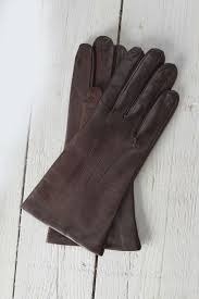 las cashmere leather lined gloves in brown