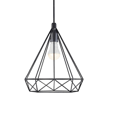 Wire Pendant Light Contemporary Geometric Wire Frame Ceiling Pendant In Black