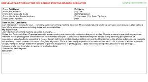 Screen Printing Machine Operator Job Application Letter