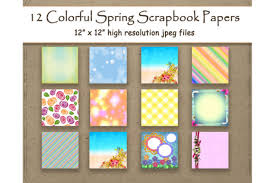 Colorful Spring Digital Papers Scrapbook