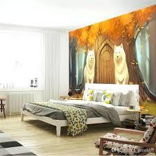 Cute Bedroom Wallpaper Cartoon Wall Mural Customize Photo Wallpaper Forest  Wolf Anime Wallpaper Cute Room Decor . Cute Bedroom Wallpaper ...